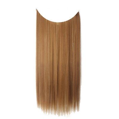 55cm Extension Cheveux lisse Ondulé Fil Invisible Transparent Monobande 7