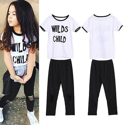 2 pz Neonati Bambino Neonato Bambine Vestiti T-shirt Top+Pantaloni Outfit Set 2 • EUR 8,84