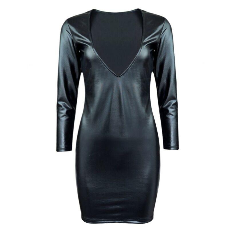 Damen Wetlook Bodycon Bandage Kleid Langarm V-Ausschnitt Minikleid Partykleid 9