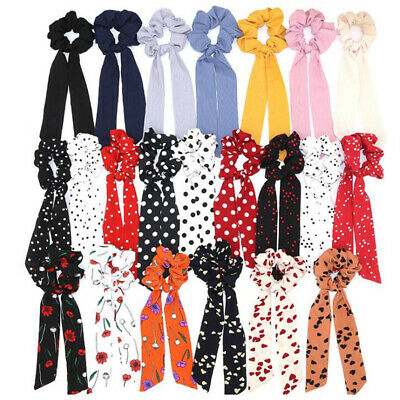 Boho Print Ponytail Scarf Bow Elastic Hair Rope Tie Scrunchies Ribbon Hair Bands 6