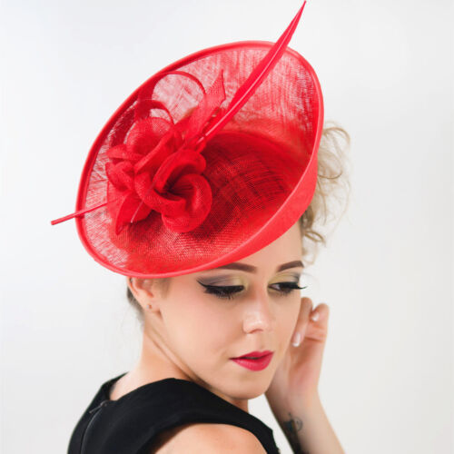 286aa3b1d7c Red Black Large Feather Fascinator Clip Hat Headband Church Kentucky Derby  3 3 of 9 ...