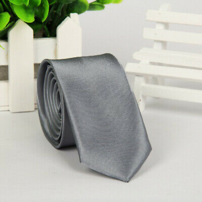 Mens SKINNY TIE Plain Wedding Slim Necktie Formal Casual Narrow Party Solid NEW 5