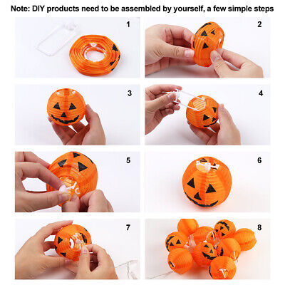 10 LED Pumpkin String Fairy Lights Lantern Party Home Props Halloween Decoration 6