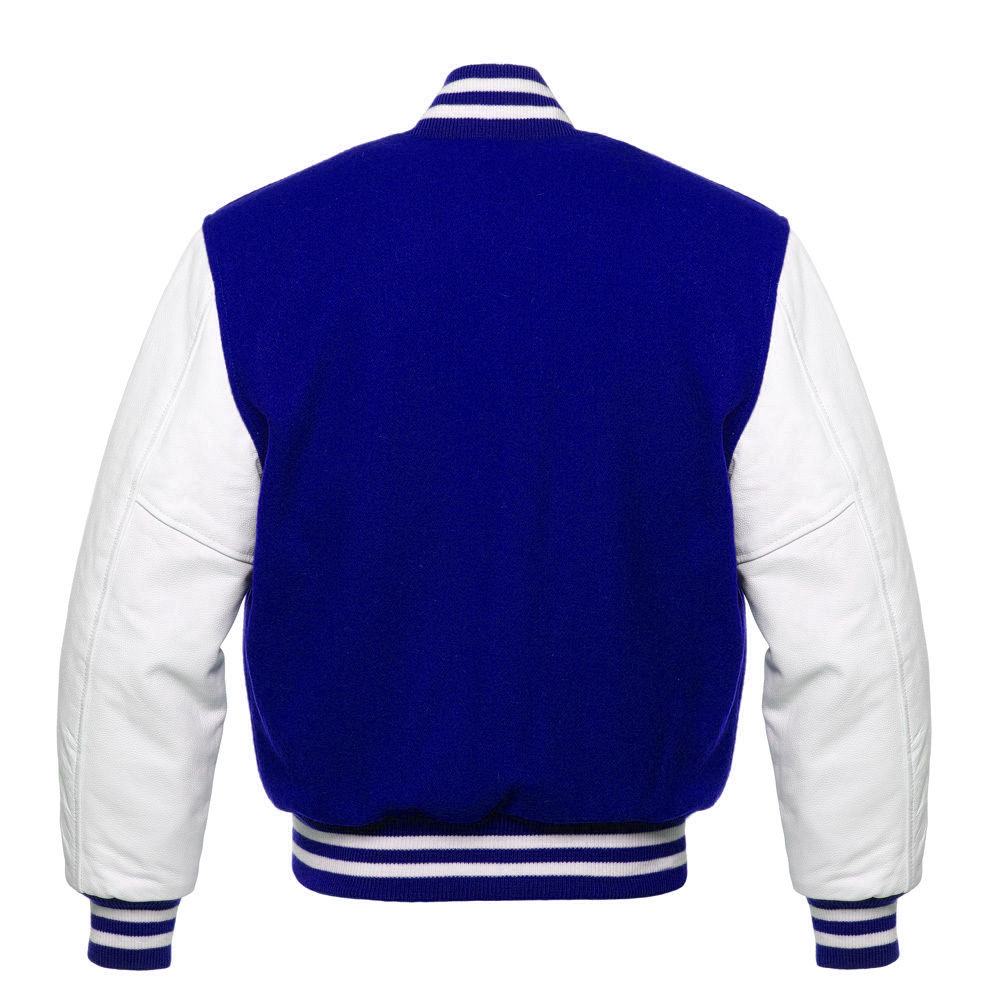 ROYAL Blue Wool Varsity Letterman Bomber Jacket with GREY Pure Leather Sleeves