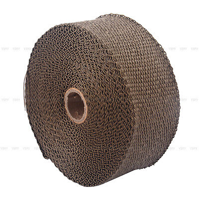 2000F EXHAUST HEAT WRAP TITANIUM Gold 10M X 50MM  + 10 STAINLESS TIES INSULATION 7