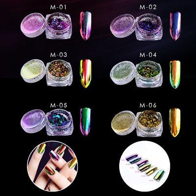 6Colors Chameleon Mirror Chrome Effect Nail Art Powder Manicure Pigment Glitter 3