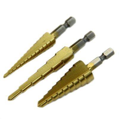 "3Pcs Set Steel Titanium Nitride Coated Step Drill Bit Quick Change 1/4"" Shank"
