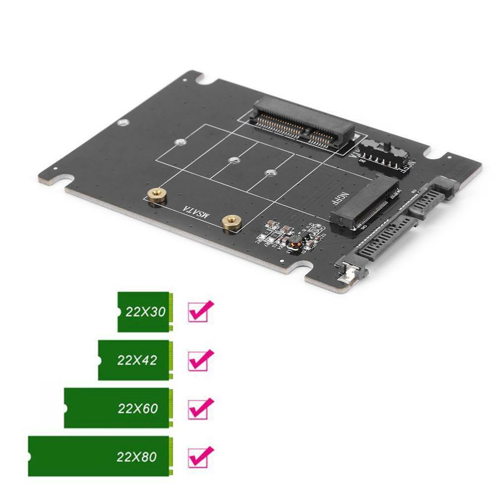 2 in 1 mSATA to SATA NGFF M.2 to SATA3 Adapter Card SSD Solid State Disk Drive 3
