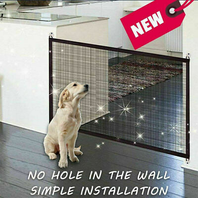Retractable Pet Dog Gate Safety Guard Folding Baby Stair Gate Isolation UK 6