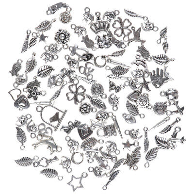 Wholesale 100pcs Bulk Lots Tibetan Silver Mix Charm Pendants Jewelry DIY