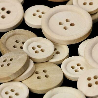 50 Pcs Mixed Wooden Buttons Natural Color Round 4-Holes Sewing Scrapbooking DIY 8
