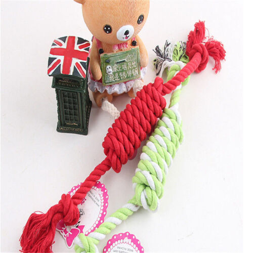 NEW Puppy Dog Pet Chew Toy Cotton Braided Bone Tug Play Game Rope Knot Toy 7