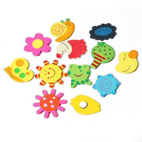 12Pcs/Set Baby Cute Fridge Magnet Wooden Cartoon Animal Child Educational Toys