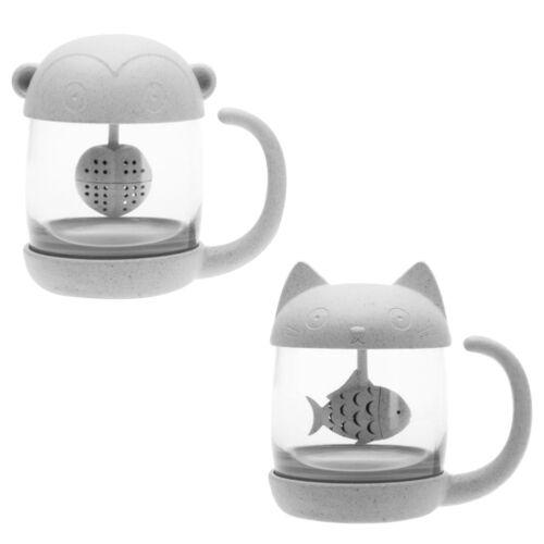 Plastique Mug Verre Bureau Mignon Tasse Thé Couvercle Chat Café Transparent Avec ALc3R54qjS
