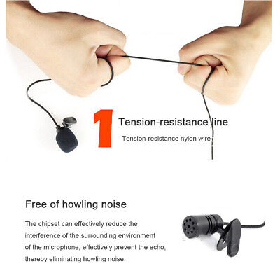 Clip On Lapel Microphone Hands Free Wired Condenser Mini Lavalier Mic 3.5mm Hot 2