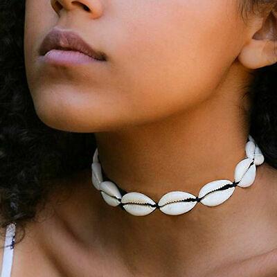 Boho Bohemian Sea Shell Beaded Pendant Chain Choker Necklace Women Beach Jewelry 3