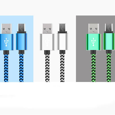 3M/10ft Long Braided Micro USB Data Charging Cable For Android Samsung Galaxy LG 10