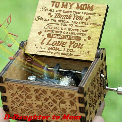 Wooden Music Box Mom/Dad To Daughter -You Are My Sunshine Engraved Toy Kid Gift 6