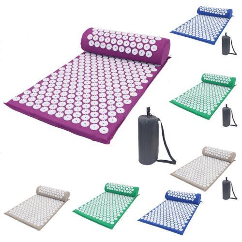 Massage Acupressure Mat with Pillow+Bag Yoga Kits Sit Lying Mats Cut Pain Stress 6