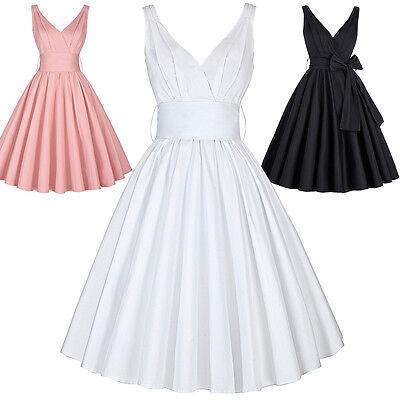 Retro Vintage Stile Pin Up Vestito Festa 40s 50s Swing Lavoro Da Sera Matrimonio 5