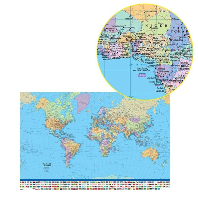 MAP OF THE WORLD IN MILLER PROJECTION FLAGS AND FACTS 90 X 60CM MAXI POSTER Be 3