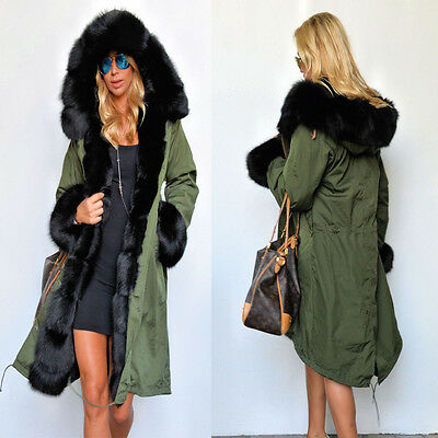 35c96a658 LADIES FUR LINING Coat Womens Winter Warm Thick Long Jacket Outdoor ...
