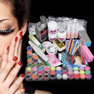New Acrylic Powder Glitter Nail Brush False Finger Pump Nail Art Tool Kit Set FT 7