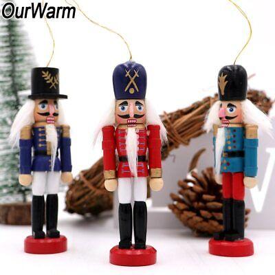 6Pcs Wooden Nutcracker Doll Soldier Mini Vintage Ornaments Christmas Home Decor 9