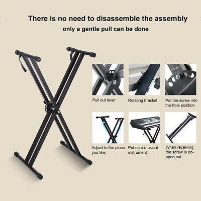 UK Double Braced Electronic Piano Keyboard Stand X Style Frame Height Adjustable 4