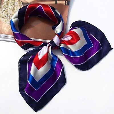 Small Vintage Head Neck Hair Tie Band Women Ladies Square Silk Feel Satin Scarf 5