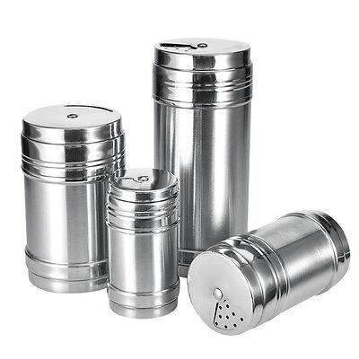 Stainless Steel Salt Pepper Shaker 4 Size Portable Home Travel Seasoning Shaker