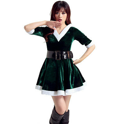 Women Santa Costume Adult Mrs Miss Claus Sexy Outfit Christmas Fancy