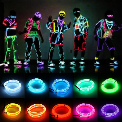 5M Luminescent Neon LED Lights Glow EL Wire Party Strip Rope Battery Operated 5
