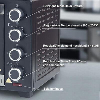 Forno Fornetto Elettrico Ventilato 30 litri 1600 W Luce Interna Timer Girarrosto 3