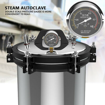 18L Durable Pressure Steam Autoclave Sterilizer Equipment Dual Heating 220V 2KW 4