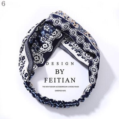 Women Girl Turban Stripe Elastic Head Wrap Headband Twisted Knotted Spa Hairband 12