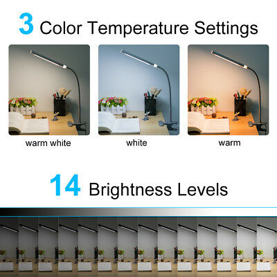 Flexible USB Table Reading Book Lamp 48 LED 5W Light Dimmable Clip-On Desk 3