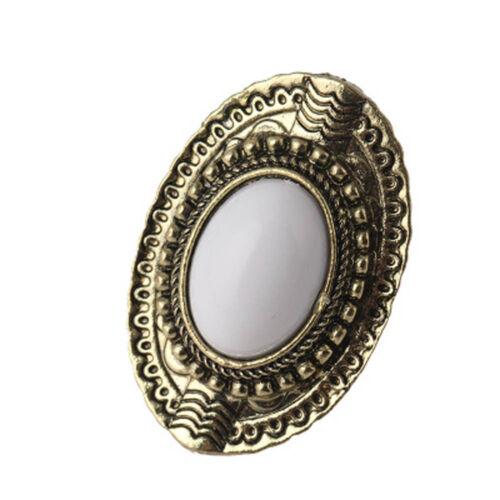 Retro Vintage Stylish Ellipse Gem Imitation Gemstone Faceted Acrylic Metal Ring