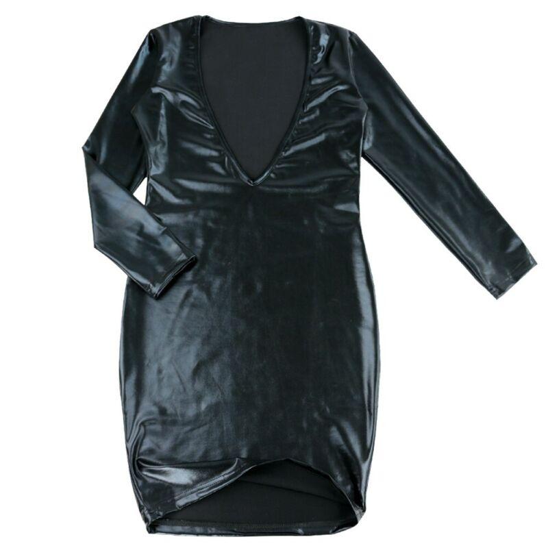Damen Wetlook Bodycon Bandage Kleid Langarm V-Ausschnitt Minikleid Partykleid 8
