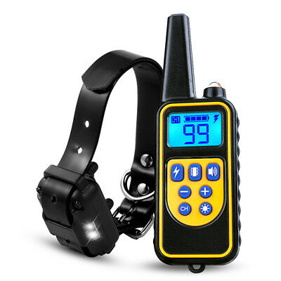 880yard 1/2/3 Dog Shock Collar LED Waterproof IP67 Rechargeable LCD Pet Training 4