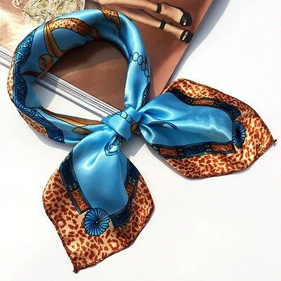 Small Vintage Head Neck Hair Tie Band Women Ladies Square Silk Feel Satin Scarf 11