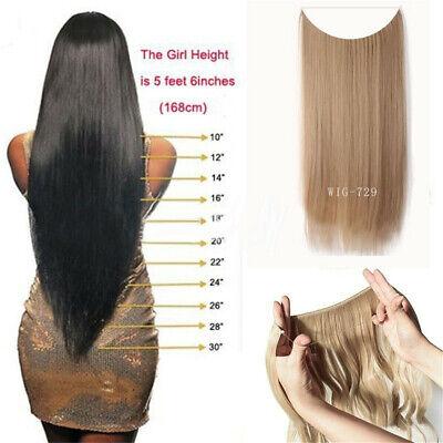55cm Extension Cheveux lisse Ondulé Fil Invisible Transparent Monobande 11