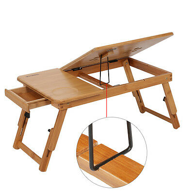 Portable Multi-Fuction Bamboo Laptop Notebook Computer Home Desk Bed Tray Table
