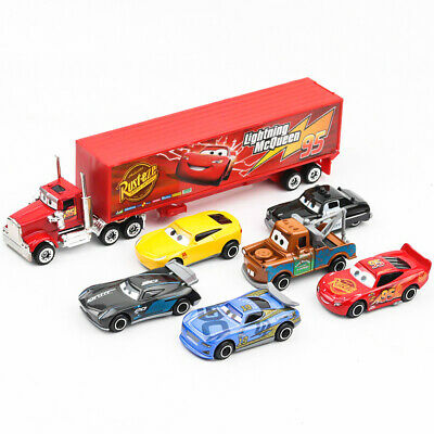 7pc Cars 2 Lightning McQueen Racer Car&Mack Truck Kids Toy Collection Set Gifts 2
