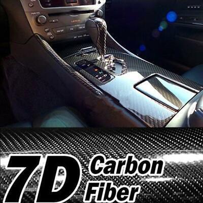 7D Premium HIGH GLOSS Black Carbon Fiber Vinyl Wrap Bubble Free Air Release Car 8