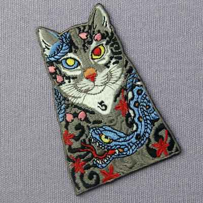Embroidered Patches Iron Sew On transfers badges appliques Rock Cats with Snakes 4