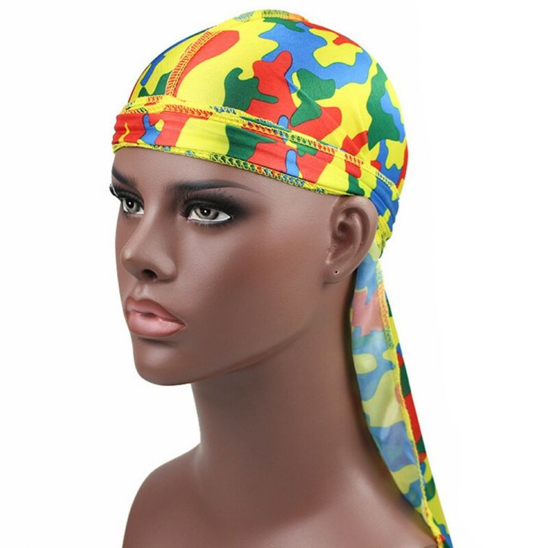 Mens Womens Camouflage Headwear Pirate Cap Hat Long Tail Bandana Turban Durag 4