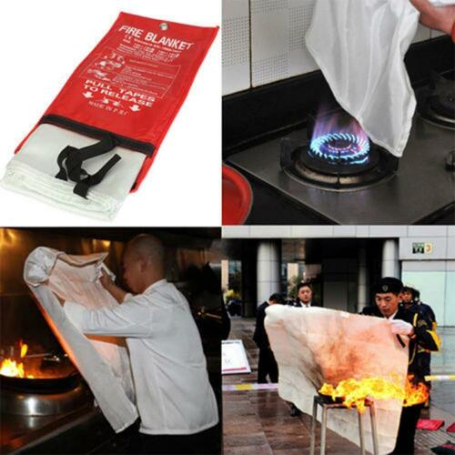 FIRE BLANKET 1M x 1M QUALITY QUICK RELEASE LARGE FULLY APPROVED RED CASE 5