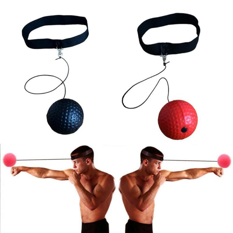 FIGHT BALL REFLEX Boxing Trainer Training Boxer Speed Punch Head Cap String  R6I6