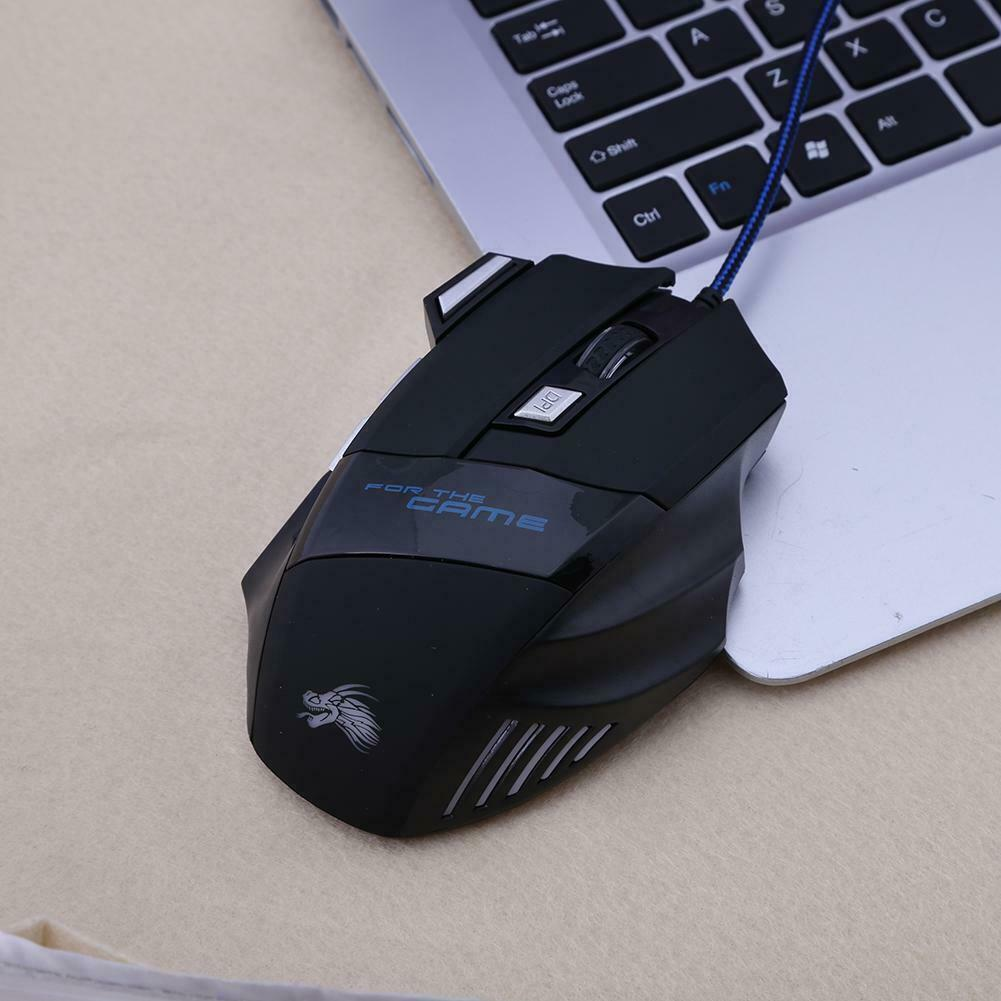 5500DPI LED Optical USB Wired Gaming Mouse 7 Buttons Gamer Computer Mice Black 4